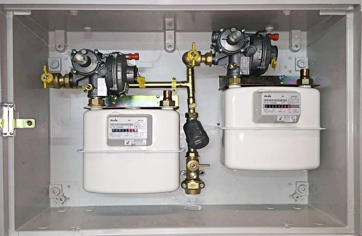 Sustituir puerta de armario de contador de gas en fachada.