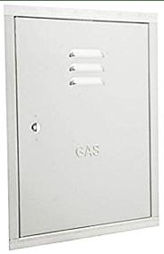 puerta-armario-de-contador-de-gas-en-fachada- Sustitución puerta armario contador de gas.